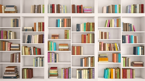 A home library organised on white box shelves with plenty of pleasing empty space